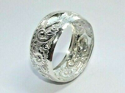 Antique Victorian Solid Silver Sterling Napkin Ring Repousse Birmingham 1898