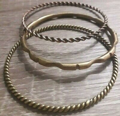 Unique Stunning Lot 3 Twisted Bronze Bracelet Viking Rare Antique Old Artifact