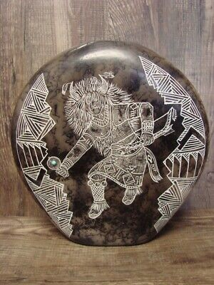 Native American Pottery Horse Hair Hand Etched Dancer Vase