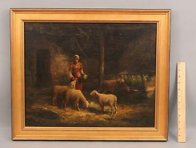 19thC Antique G Siegel Farm Barnyard Sheep & Maiden Barbizon Oil Painting