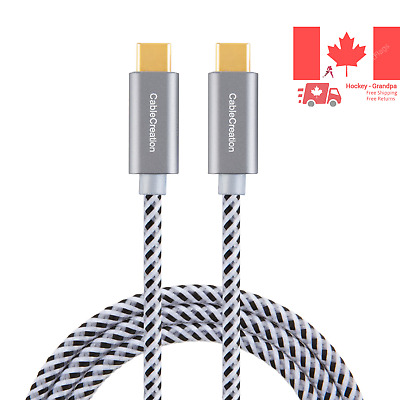 USB Type C Cable 10ft USB-C to USB-C Braided Data & Charging Cable 20V 3A up ...