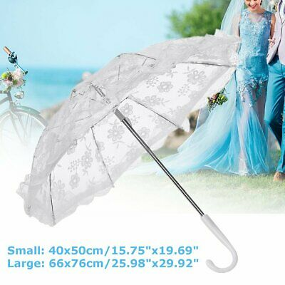 Retro Lace Ivory Umbrella Fan Victorian Sun Parasol Wedding Bridal Party 40/66cm