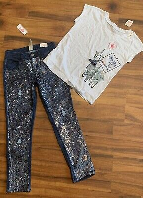 Justice Girls 10 Outfit Sequin Mid Rise Stretchy Super Skinny Jean & Llama Shirt