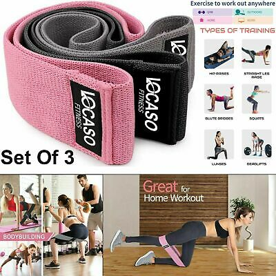 Set Of 3 Resistance Booty Bands Heavy Duty Band Fabric Yoga Fitness Equipment UK