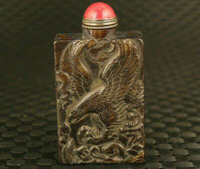 Fortune rare chinese old yak horn eagle god of wealthy statue Snuff bottle