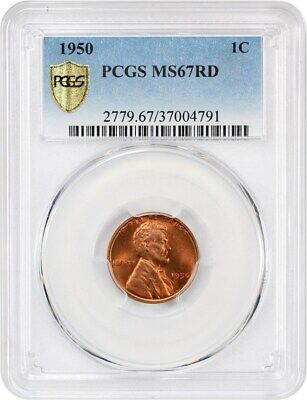 1950 1c PCGS MS67 RD - Gorgeous Gem - Lincoln Cent - gorgeous gem