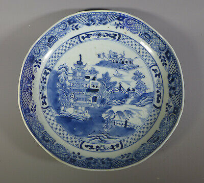 Antique Chinese Blue & White Porcelain Dish Plate Willow Pattern Restored