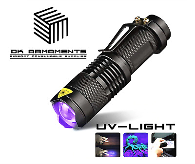 Tactical Mini CREE LED UV Black Light Torch Flashlight Adjustable Zoom Airsoft