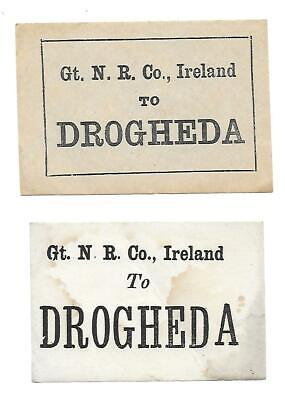 Irish Railway Luggage Labels x2. GT N R Co, GNR (I) Great Northern Railway (I)