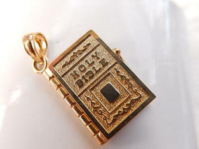 14k HOLY BIBLE PENDANT for NECKLACE Yellow Gold Opens Lords Prayer CHARM Heavy
