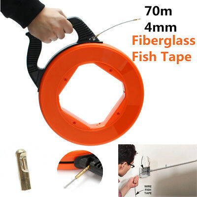 70m Wire Cable Fiberglass Fish Tape Reel Conduit Ducting Rodder Pulling Puller