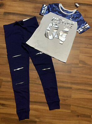 Justice Active Girls Size 10 Blue Camo Top Shirt & Slash Sequin Joggers Outfit