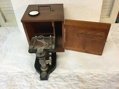 Old Bausch & Lomb Jewelers Magnifier Instrument Dissecting Microscope Wood Case