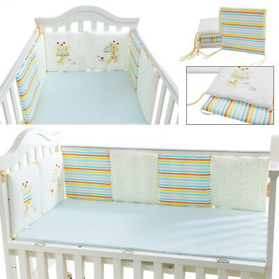 6Pcs Baby Infant Cot Crib Bumper Safety Protector Toddler Nursery Bedding Pad  !