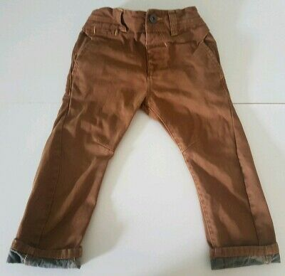 Next Boys Tan Brown Turnover Trousers Chinos 3 Years