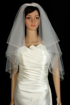Bridal Veil Ivory 2 Tiers Long  Elbow Length Edge With Silver Lined Bugle Beads