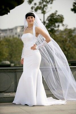 Bridal Wedding Veil Ivory 2 Tiers Long Cathedral Length With Rhinestone Edge