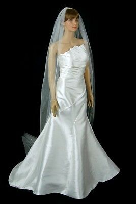 "Off White 2 Layer Lace Bridal Veil 118/""X106/"" Cathedral Veil in White Ivory"