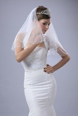 Bridal Veil Ivory 2 Tiers Long Elbow Length Edge With Silver Beads And Sequins