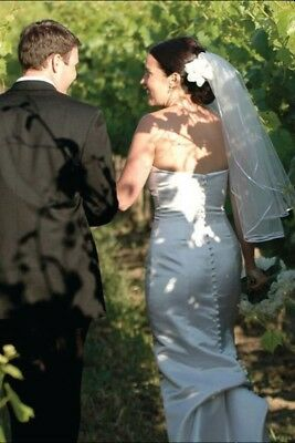 Bridal Wedding Veil Plain Ivory 2 Tiers Elbow Length  1/4in Satin Ribbon Edge