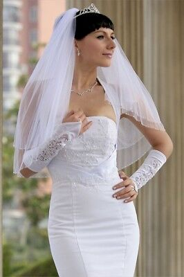 Bridal Wedding Veil Ivory 2 Tiers Elbow Length With Edge Trimmed In Clear Beads