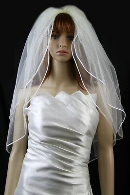 Bridal Veil Ivory 2 Tiers Fingertip Length Satin Cord Edge Scattered Rhinestones