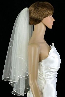 Bridal Veil  Ivory 2 Tiers Elbow Length Satin Cord Edge Scattered Rhinestones