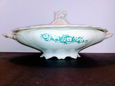 Antique Harker Pottery Semi Porcelain Covered Oval Vegetable Bowl - Rare 1890's