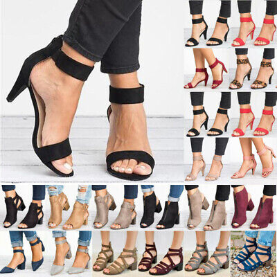 Womens Mid Block Heels Ankle Strap Sandals Wedge Summer Party Dresses Shoes Size