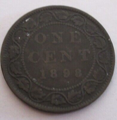 1898 Canada Large Cent Coin. Victoria 1 Penny KEY DATE (RJ782)
