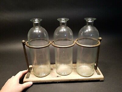 Antique Vintage Style Pharmacy Apothecary stand w 3 Bottles