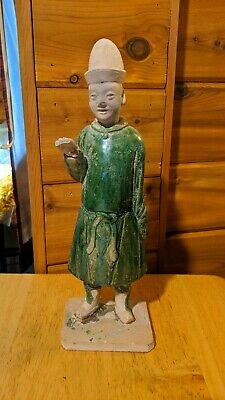 Antique Chinese China Tang Ming Dynasty Tomb Figure Statue Green Glaze Removable