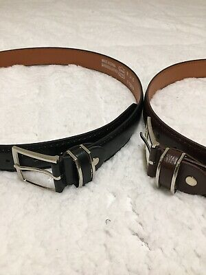2 New Mens Leather Belts Blk/Brn $19.99 With Buckle