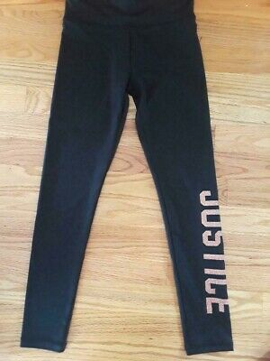 "Justice Girls' Size 7 Black Full Length Leggings with ""JUSTICE"" in Gold Glitter"