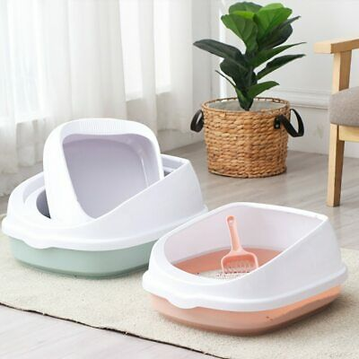 Pet Cat Toilet Semi Enclosed High Fence Detachable Litter Box Toilet Dog Tray