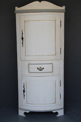 Antique hand painted Georgian barrel front corner cabinet Provincial circa 1780