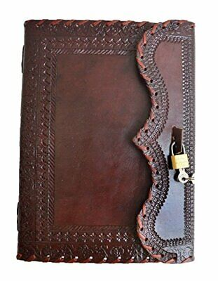 """Universal 10"""" Large Genuine Leather Journal with Lock Blank Notebook Vintage"""