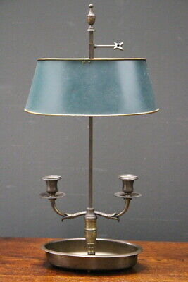 Antique French Empire Bouilliotte lamp two bronze candle sconces tolware shade