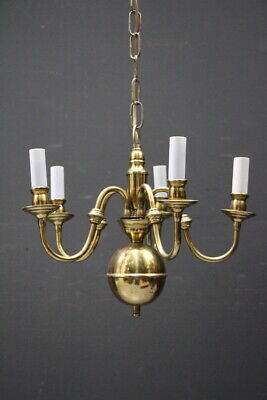Vintage Dutch antique French Provincial 5 arm chandelier brass ornate light