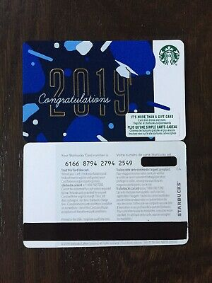 """Canada Series Starbucks """"CONGRATS 2019"""" Gift Card WITH BLACK MAG STRIPE - New"""
