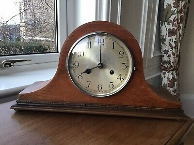 Vintage German (Haller) Oak Napoleon Hat Striking Mantel Clock GWO