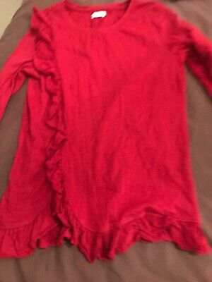 Next Girls Red Ruffle Front Long Sleeve Top Age 10
