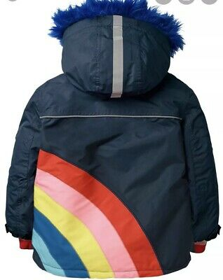BNWT Mini Boden Girls Coat Age 9-10 Rainbow Waterproof Please read description!