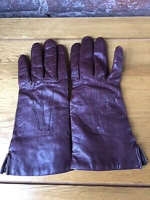 Dents Leather Gloves, Burgundy, Wool & Cotton Lining, Size 7, Dent Fownes, Warm