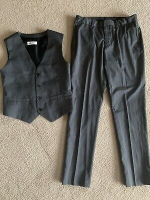 Boys Smart H & M Grey Trousers And Waistcoat Outfit Set 152cm Age 11 12