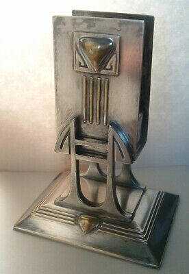 STUNNING Antique Art Nouveau Silver Plate & Brass match Holder , AMAZING