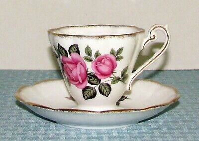 Royal Standard Eng. Pink Roses & Green Leaves Fancy Footed Cup & Saucer Set  EXC