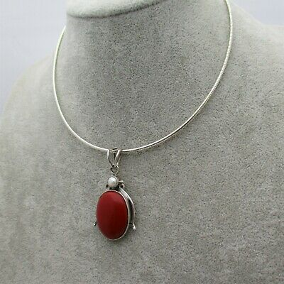 Red Carnelian Pearl Collar Choker Necklace 925 Sterling Silver Oval Pendant