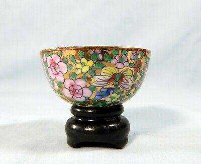 Antique Chinese Export porcelain famille rose tea wine cup stand circa 1950s