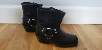 Double H Boot Company Black Leather Booties Buckle 5 Womens Shoes